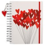 Paperchase Valentine's heart balloons A5 thick notebook