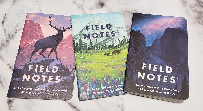 A few of the notebooks from Field Notes National Parks Series