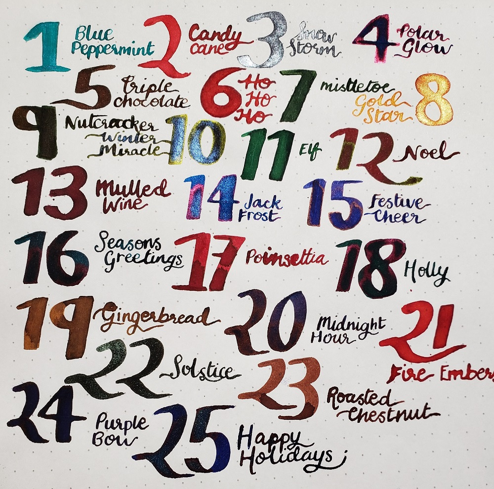 All of the inks in Diamine Inkvent Calendar 2019