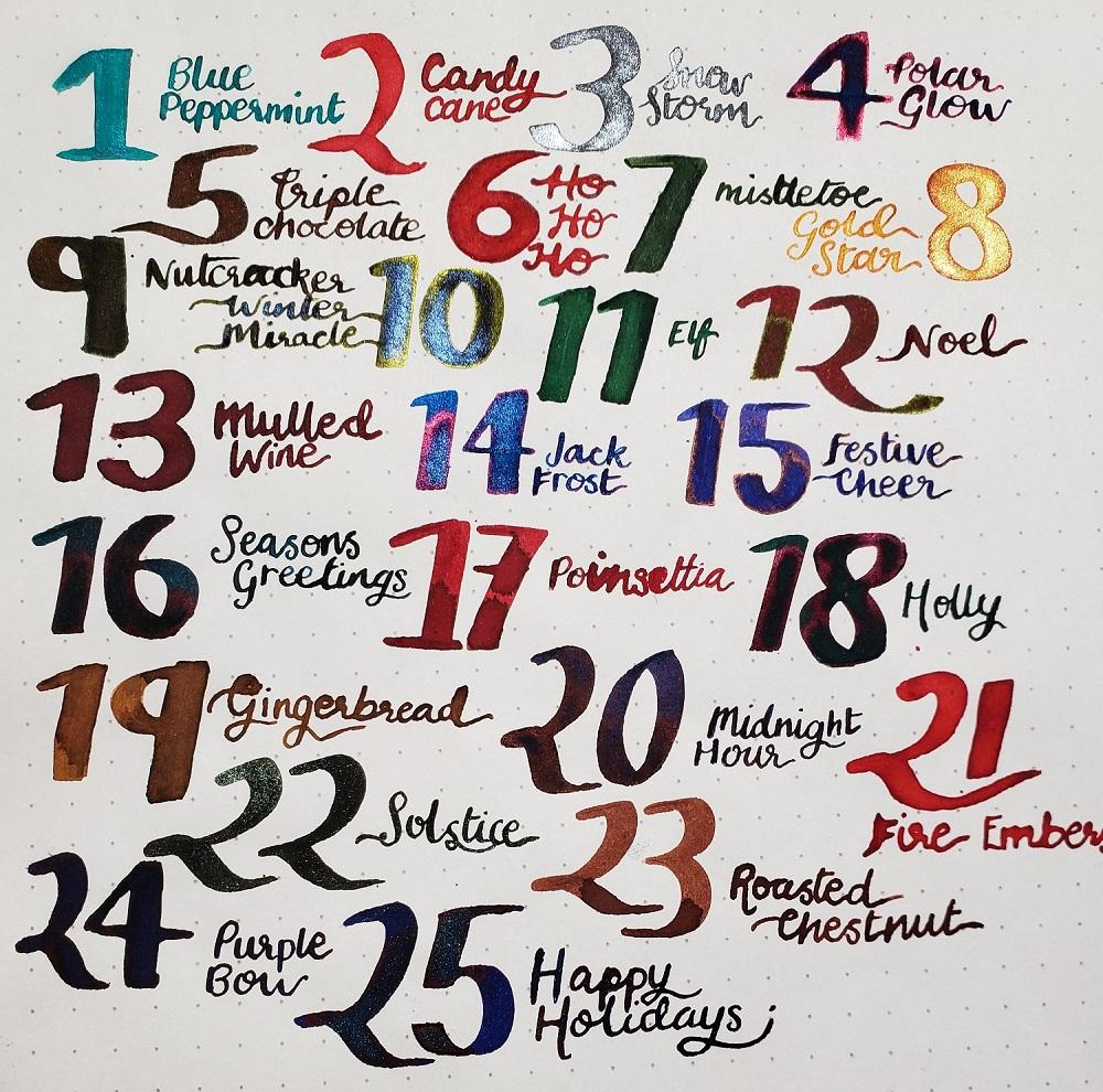 All of the inks in Diamine Inkvent Calendar 2019