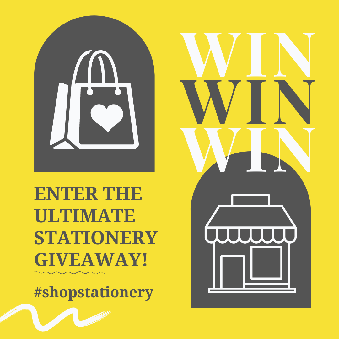 Image saying 'Enter the Ultimate Stationery Giveaway' and 'win'.